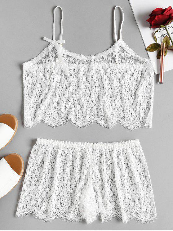 new Sheer Lace Cami Top and Shorts Lingerie Set - WHITE ONE SIZE