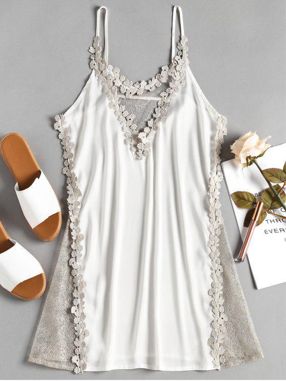 Robe de Nuit Glissante en Satin et Empiècements Transparents - Blanc Taille Unique