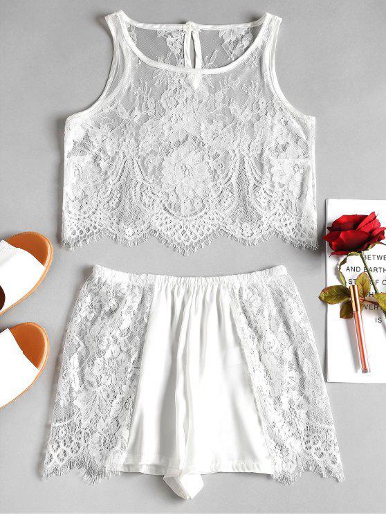 Conjunto de Lingerie Sheer Lace Satin Top Shorts - Branco Um Tamanho