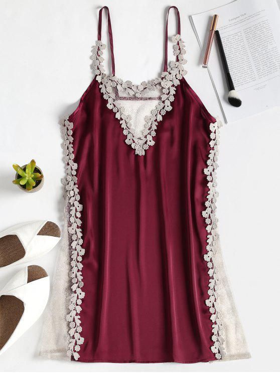 outfits Sheer Panel Satin Nighgown Slip Dress - RED WINE ONE SIZE