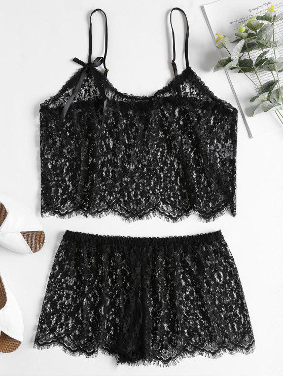 shop Sheer Lace Cami Top and Shorts Lingerie Set - BLACK ONE SIZE