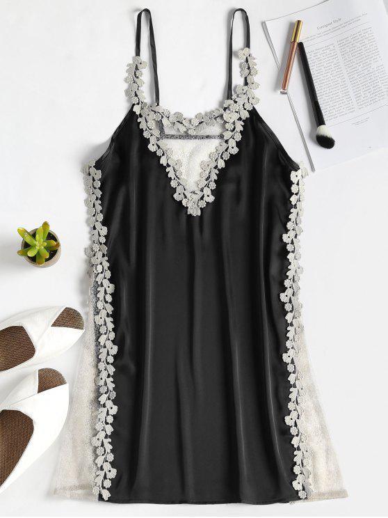 Vestido slip sin mangas de satén con panel transparente - Negro Talla única
