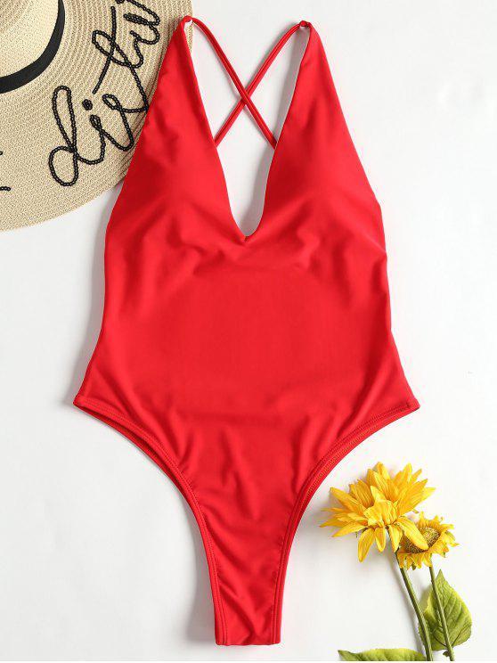Costume Da Bagno Incrociato Con Taglio Alto - Rosso Amore L