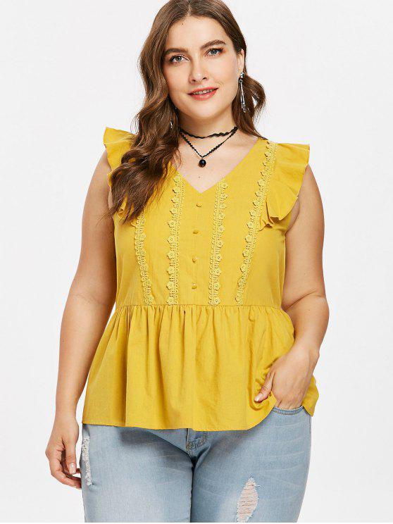 Botones de Tallas Grandes Blusa con Volantes - Amarillo Brillante 3X