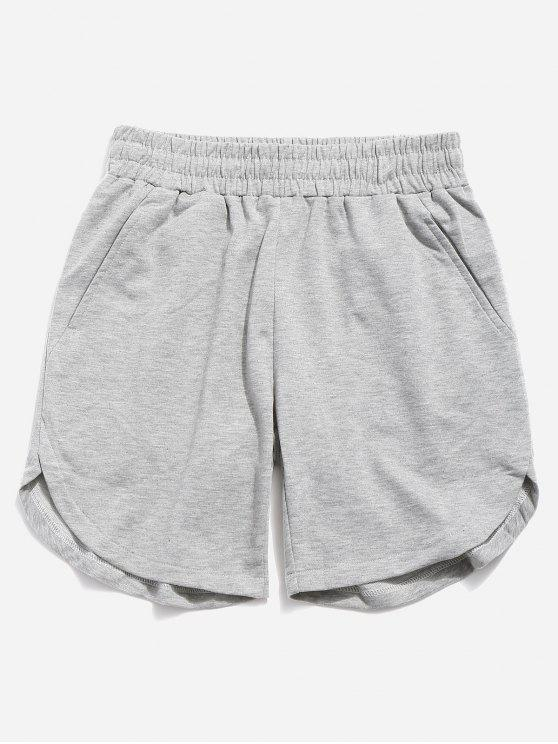 outfit Solid Color Curved Hem Shorts - BLUE GRAY 40