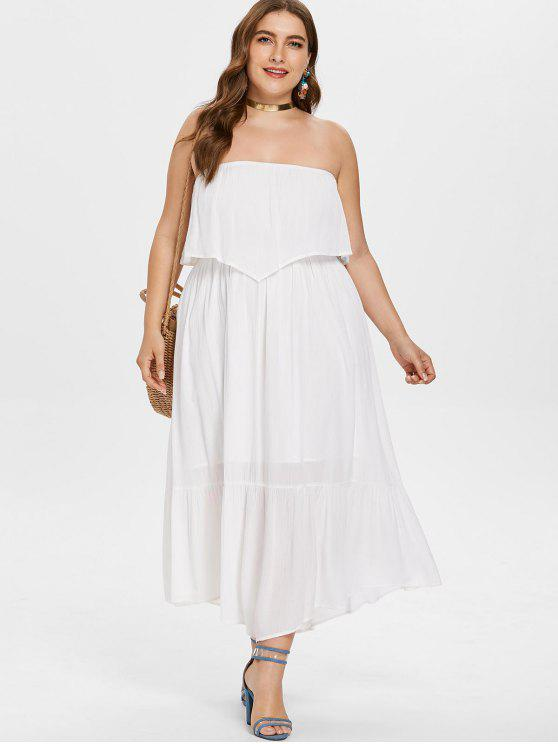 Plus Size Maxi Tube Flowy Dress WHITE