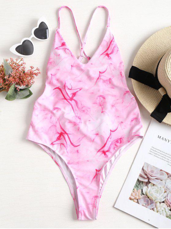 Costume Da Bagno Di Ombre Tie-Dye Con Lacci Incrociati - Rosa Chiaro S