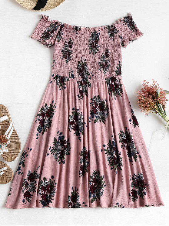 outfits Smocked Floral Off Shoulder Dress - KHAKI ROSE L