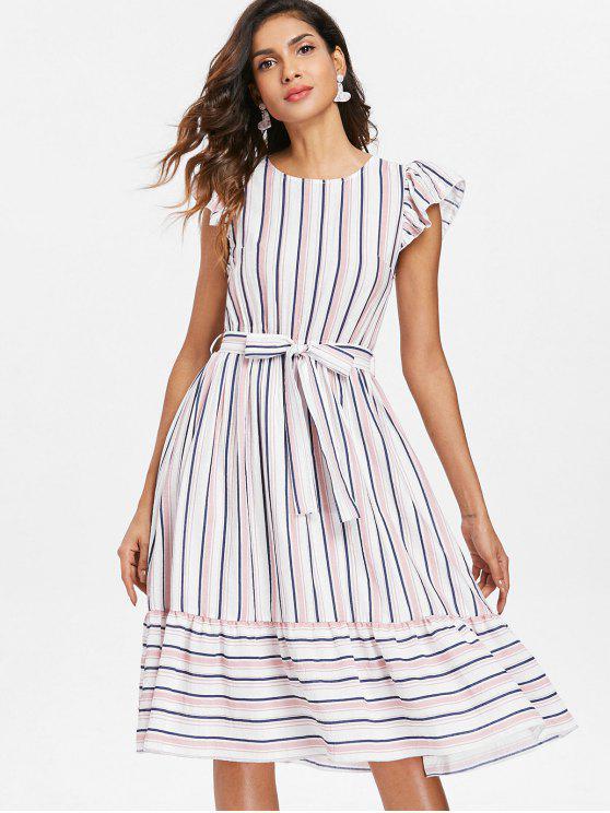 fancy Striped Casual Flounce Dress - MULTI XL