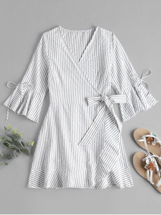 Vestido de rayas Mini Wrap - Blanco S