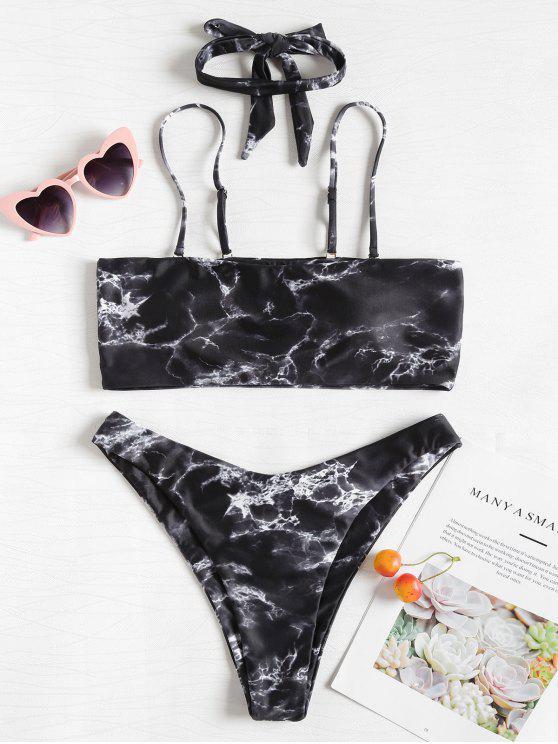 Bikini A Fascia Stampato Di Marmo Con Choker - Multi Colori-Z L