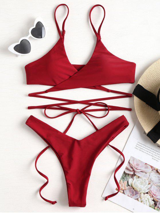 lady Cami Straps Wrap Bikini - RED WINE L