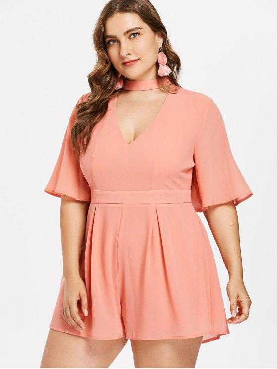 unique Plus Size Choker High Waisted Romper - TANGERINE 2X