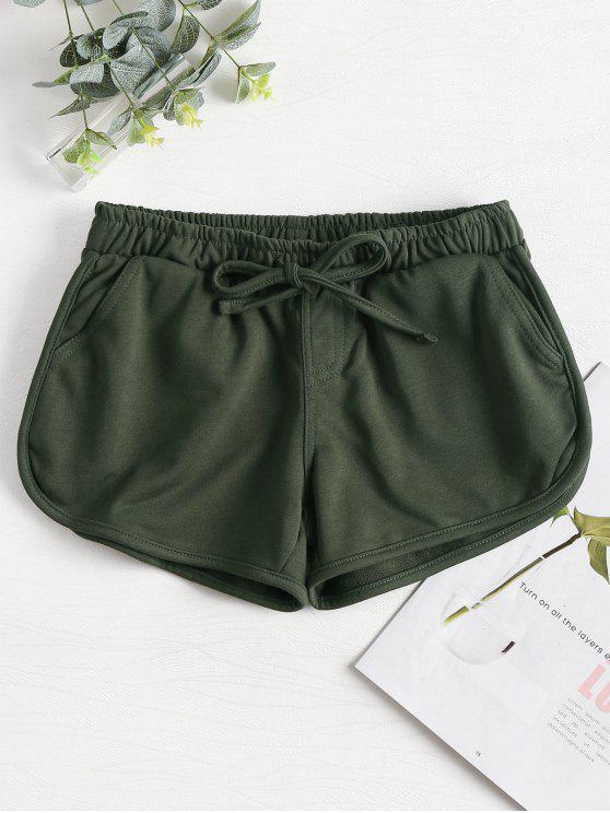hot Knotted Waist Gym Shorts - ARMY GREEN M