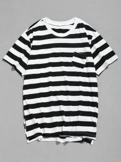Camiseta De Bolsillo Dobladillo Dividido A Rayas - Negro L