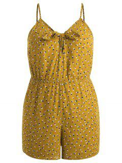 Plus Size Hearts Knotted Romper - School Bus Yellow L