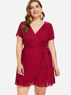 Plus Size Wrap Tied Ruffle Dress - Fire Engine Red 1x