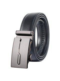 Cinturón Ancho Con Hebilla Automática Geométrica Pulida Elegante  - Gris Oscuro