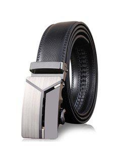 3D Cinturón Ancho De Hebilla Automática En Forma De Y Pulido Elegante  - Gris Oscuro