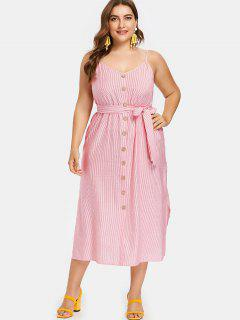 Pinstriped Plus Size Belted Slip Dress - Ruby Red 1x