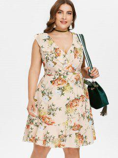 Plus Size Floral Surplice Ruffle Dress - Apricot L