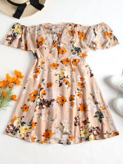 Off Shoulder Lace Up Floral Dress - Deep Peach M