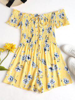 Lace Up Smocked Floral Romper - Yellow S