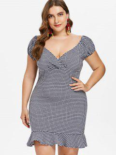 Plus Size Flounce Gingham Dress - Deep Blue L