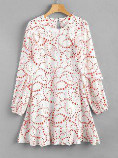 Heart Ruffles Mini Dress - White L