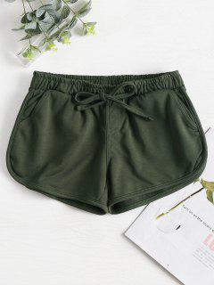 Knotted Waist Gym Shorts - Army Green L