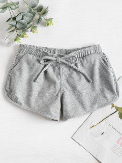Knotted Waist Gym Shorts - Light Gray M