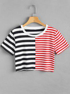 Striped Patchwork Cropped T-Shirt - Multi S