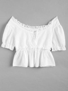 Knotted Ruffles Top - White L