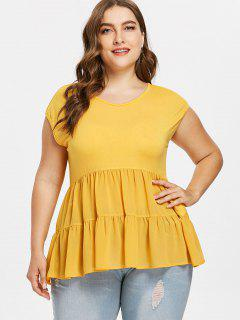 Plus Size A Line Flounce Tee - Bright Yellow 3x