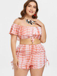 Flounce Plus Size Tie Dye Shorts Set - Light Pink L
