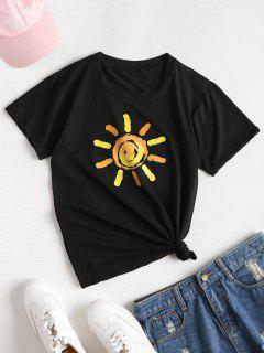 Sun Print Soft Graphic T-Shirt - Black M