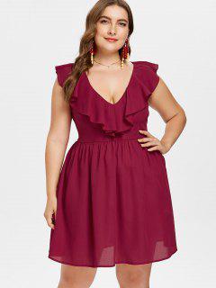 Plus Size Ruffled Plunge Mini Dress - Red Wine L