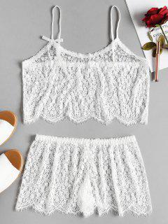 Sheer Lace Cami Top And Shorts Lingerie Set - White