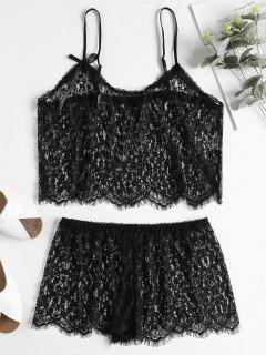 Sheer Lace Cami Top And Shorts Lingerie Set - Black