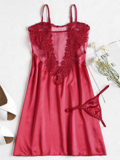 Applique Mesh Satin Nightgown Slip Dress - Red