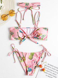 Knot Tie Side Print Choker Bikini - Light Pink M