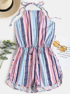 Open Back Stripes Halter Romper - Multi S