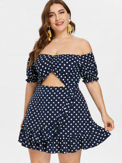 Off Shoulder Plus Size Polka Dot Ruffled Dress - Dark Slate Blue 3x