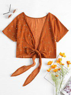 Tie Front Metallic Stars Crop Top - Light Brown S