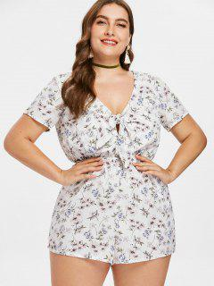 Plus Size Knotted Floral Romper - White 4x
