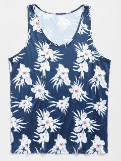 Hawaii Summer Flower Tank Top - Blueberry Blue Xl