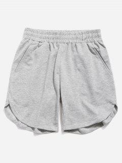 Solid Color Curved Hem Shorts - Blue Gray 38