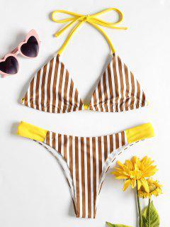 Gestreifter Niedrige Taille Bikini - Kastanie S