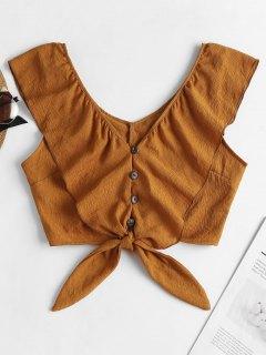 Blusa Con Cuello En V Con Volantes - Naranja Oscuro M