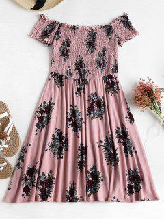 Smocked Floral Off Shoulder Dress - Khaki Rose S
